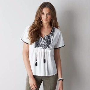 American Eagle Embroidered Peasant Top